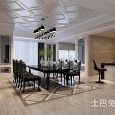 热门面积91平欧式三居餐厅装修实景图片