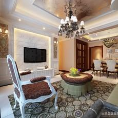 面积114平欧式四居客厅装饰图片