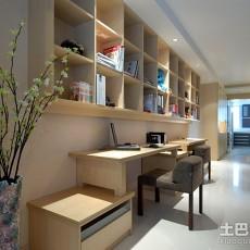 精美87平米田园小户型书房装修实景图片