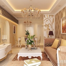 精选104平方三居客厅欧式装修设计效果图片大全