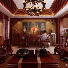 精选117平方中式别墅客厅装修图