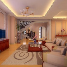 热门美式复式客厅实景图