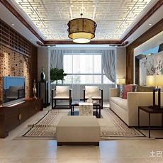 2018精选面积78平小户型客厅中式装修实景图片欣赏