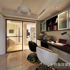 2018105平米三居书房简约装修实景图片大全