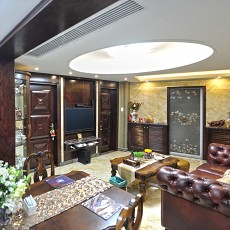 热门81平米中式小户型客厅装修实景图片