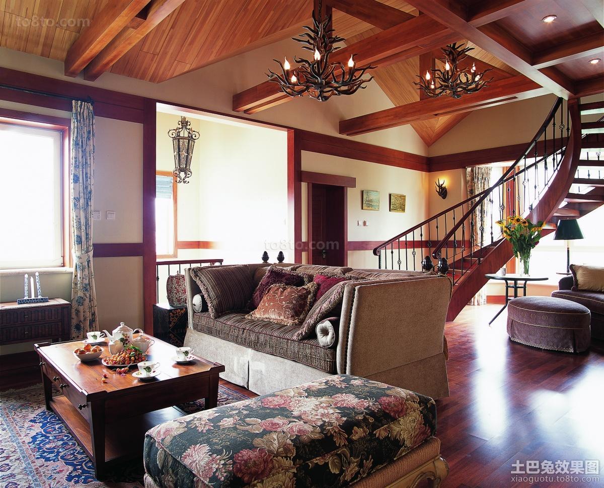 新中式复式客厅装修效果图片
