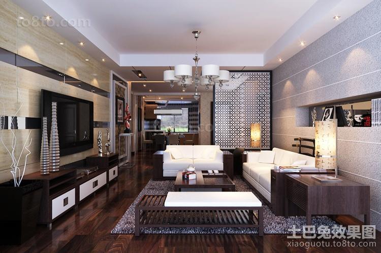现代四居客厅电视墙装饰图片