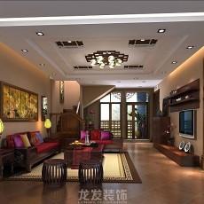 2018113平米中式复式客厅装修效果图片大全