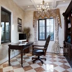 面积108平美式三居书房实景图片