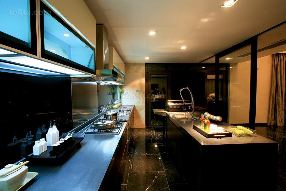 新中式风格开放式厨房装修效果图片
