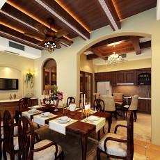 114平米美式别墅餐厅装修实景图片