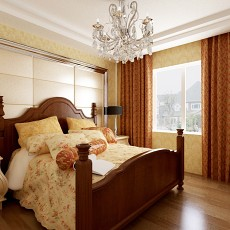 精美92平方三居卧室美式实景图