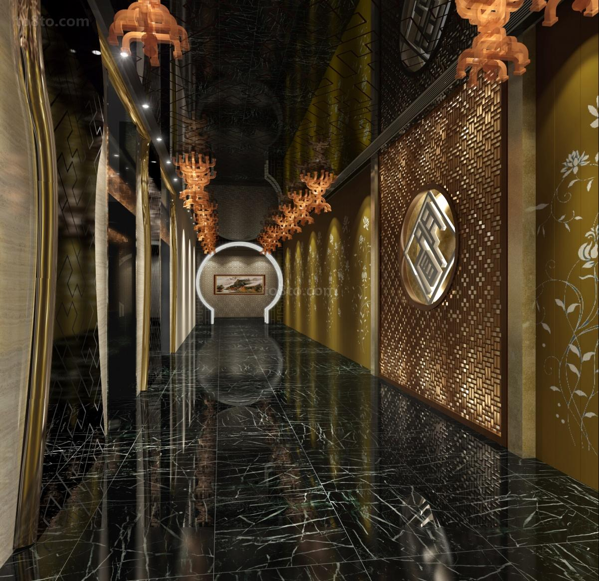 酒店走廊装潢效果图