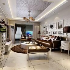 热门面积132平欧式四居客厅装修实景图片大全