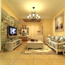 精美78平米田园小户型客厅装修设计效果图