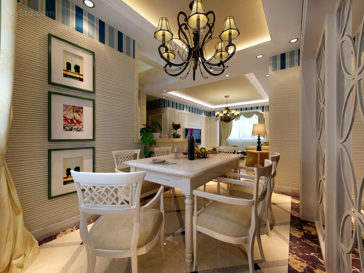 精美面积76平地中海二居餐厅装修图片