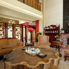 精美面积141平别墅客厅中式装修实景图