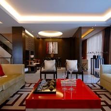 129平米东南亚别墅客厅实景图片