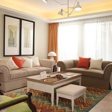面积71平小户型客厅现代装修实景图