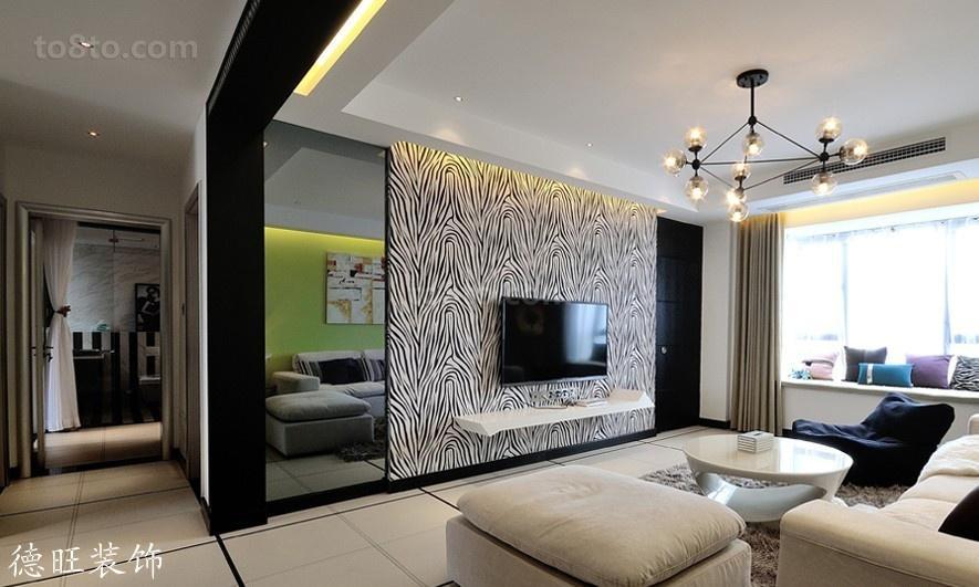 精美89平米二居客厅现代装修实景图