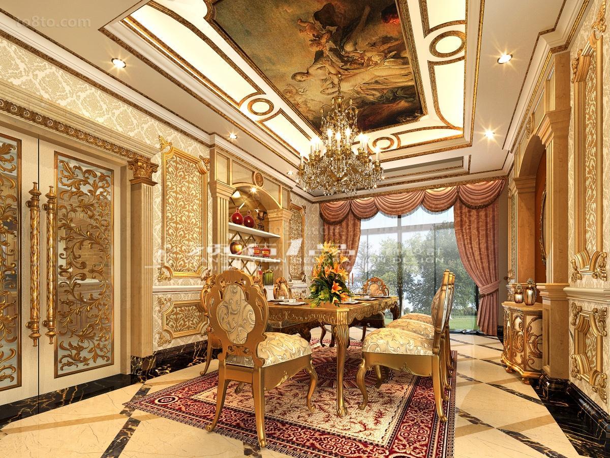 巴洛克风格别墅餐厅吊顶装修效果图欣赏