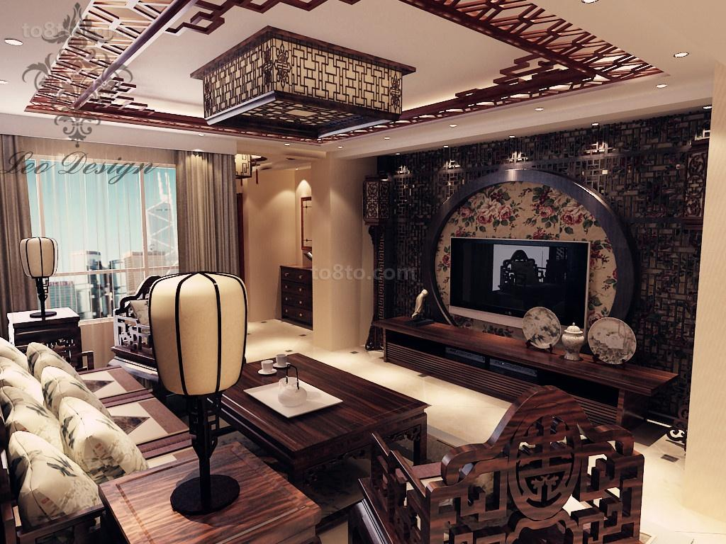 精美中式一居客厅装修图片大全