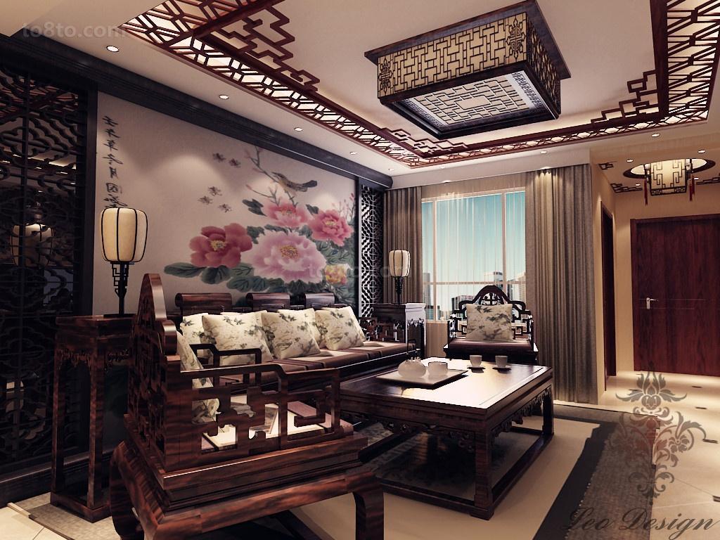 热门82平米中式小户型客厅装修设计效果图