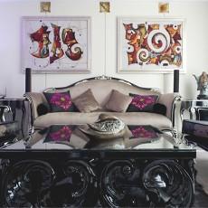 中式欧式混搭别墅客厅沙发效果图