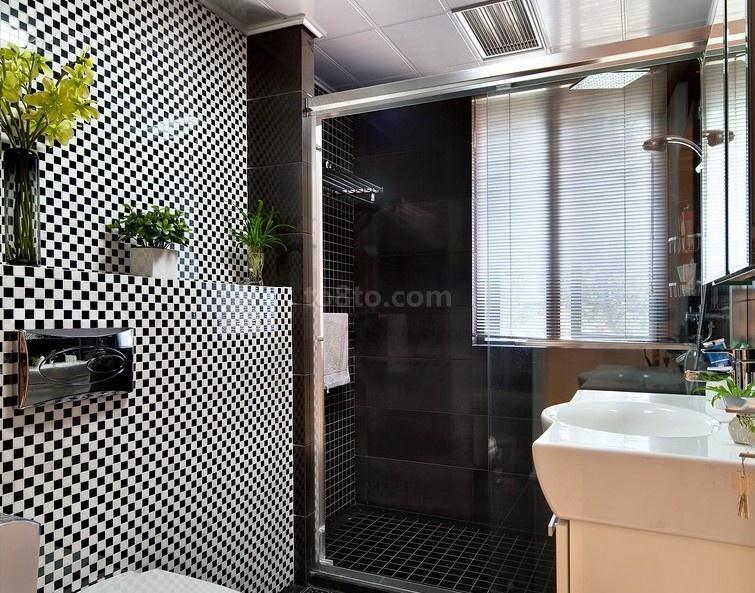 现代干湿分离卫生间瓷砖效果图