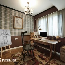 热门面积75平小户型书房美式效果图