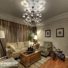 201884平方二居客厅美式实景图片欣赏