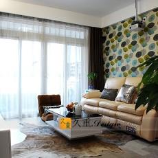 现代风格小客厅沙发背景墙壁纸效果图