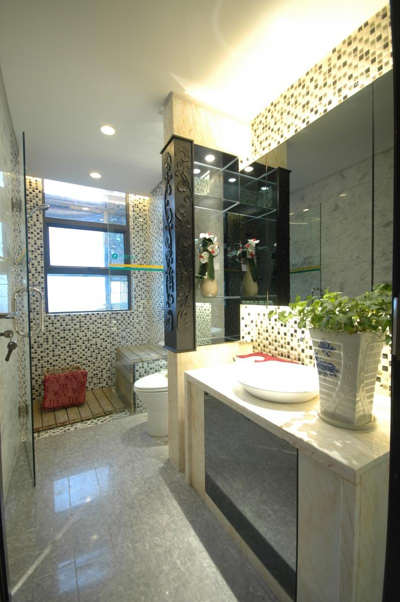 客厅改卧室效果图_精选小户型卫生间中式装修效果图-土巴兔装修效果图