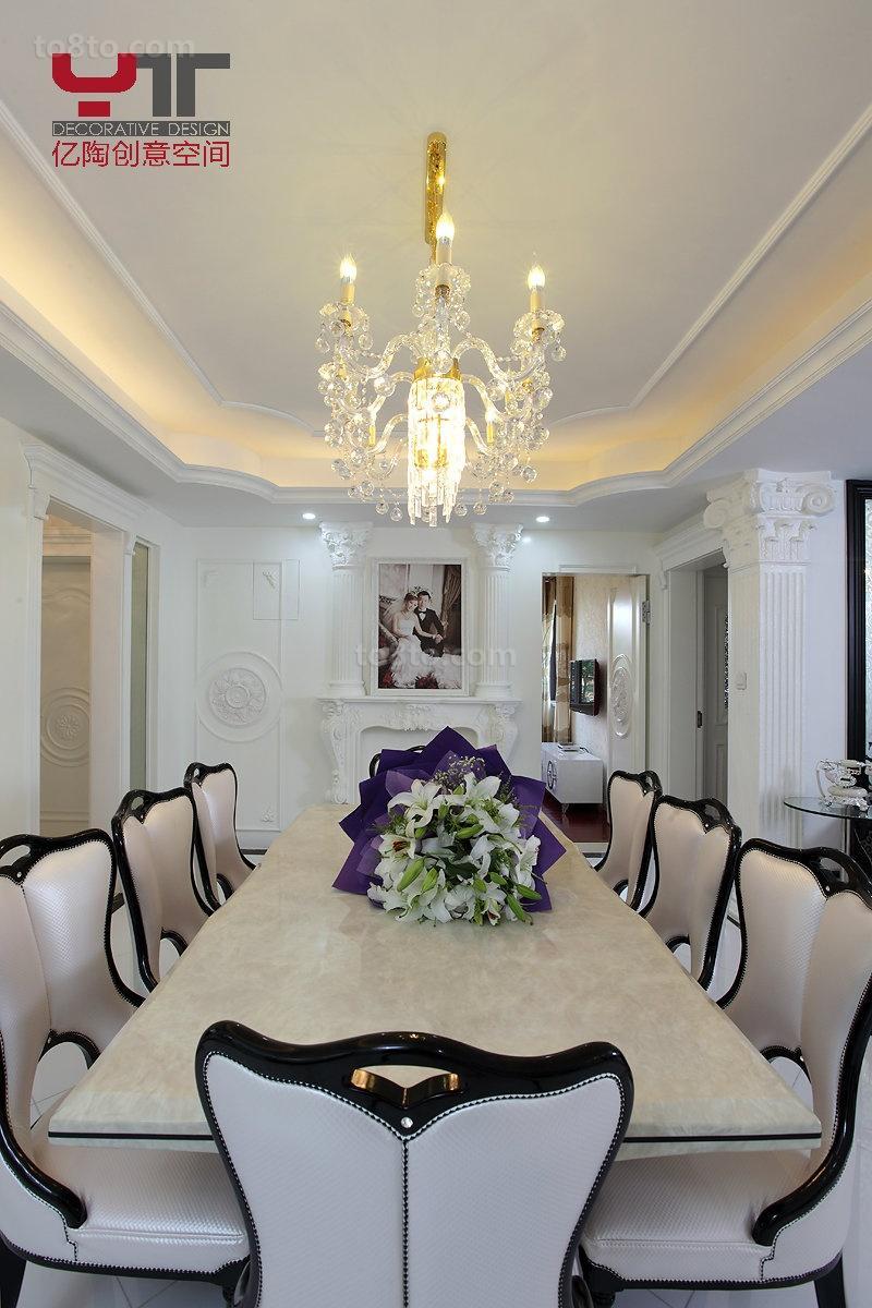 现代欧式餐厅水晶灯吊顶效果图