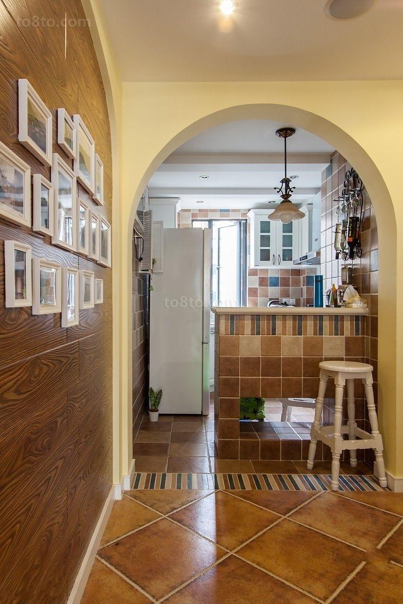 田园风格小厨房吧台装修效果图