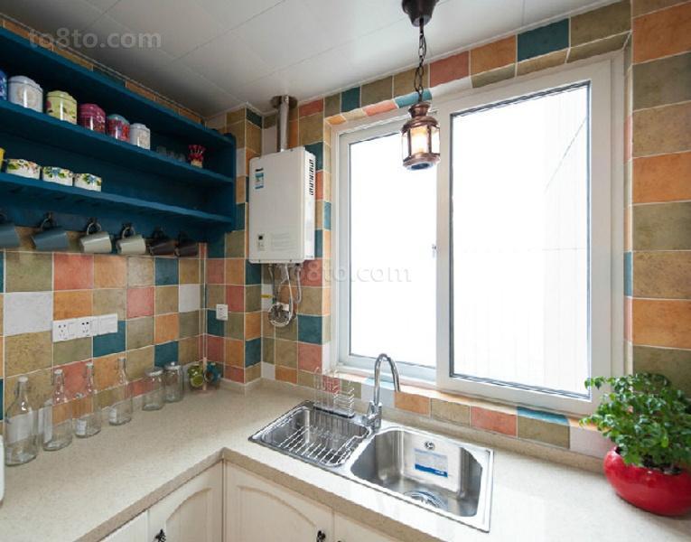 田园风格厨房瓷砖装修效果图