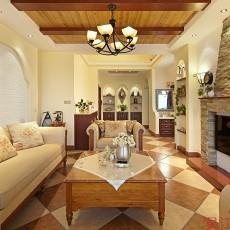 精选面积115平复式客厅田园实景图片