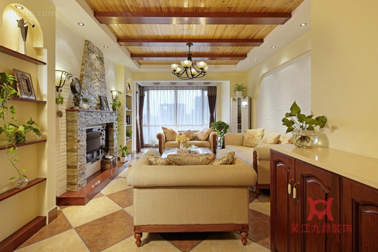 热门138平米田园复式客厅实景图