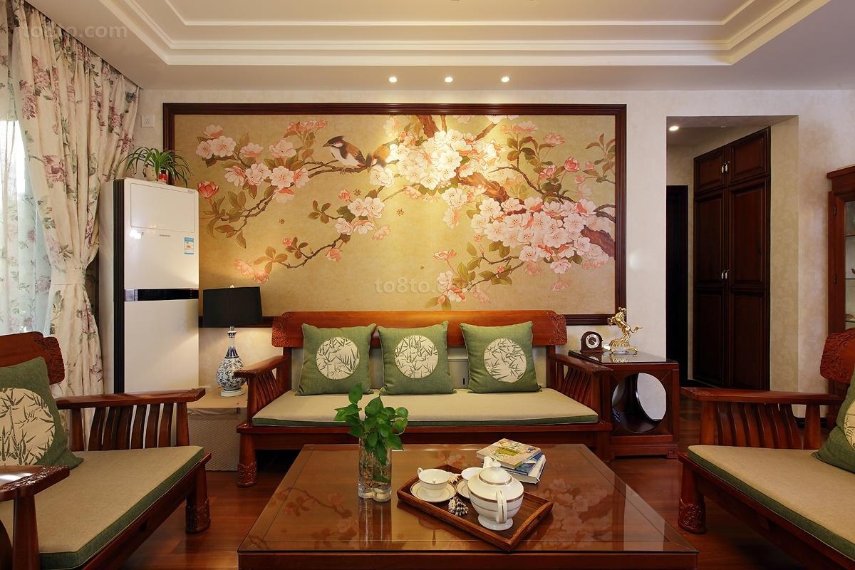 中式风格客厅沙发背景墙效果图