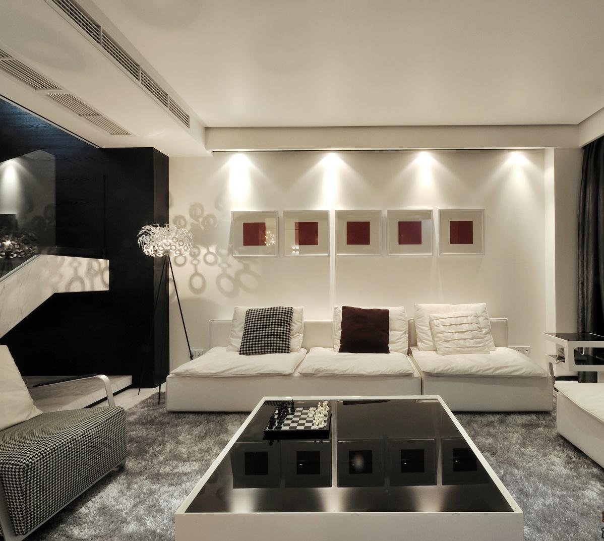 家装现代风格效果图_热门现代复式客厅装修图片大全-土巴兔装修效果图
