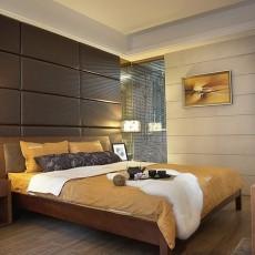 现代中式卧室软包背景墙效果图